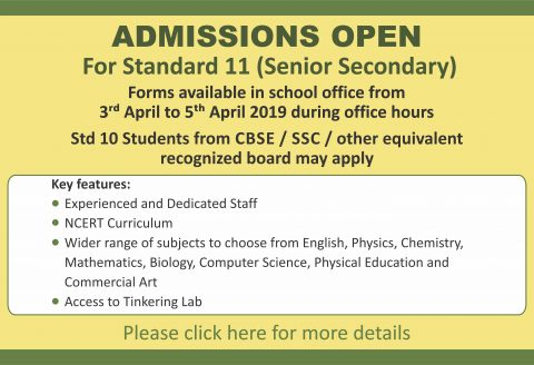 Admission to <br><br>Standard 11 (CBSE Board)