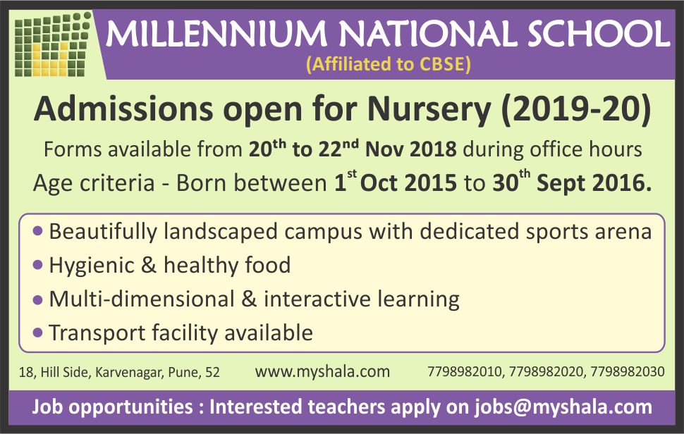 Admissions open for <br>Nursery